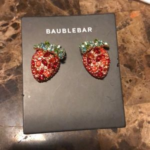 NWOT bauble bar rhinestone strawberry earrings